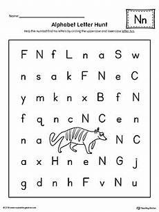 worksheets on letter n 24156 alphabet letter hunt letter n worksheet myteachingstation