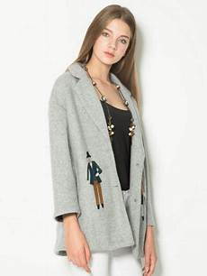 grey wool coat womens with buttons closure cartoon