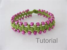 Makramee Armband Anleitung - beaded bracelet pattern macrame tutorial pdf green pink