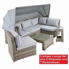 Garten Lounge Angebot - outdoor 5 teiliges gartenlounge set mit dach kissen