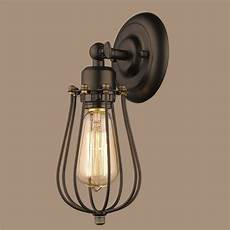 lighting industrial edison wire cage rubbed bronze 1 light wall sconce ebay