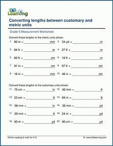 measurement worksheets k5 learning 1488 grade 5 math worksheets convert units of length customary metric k5 learning