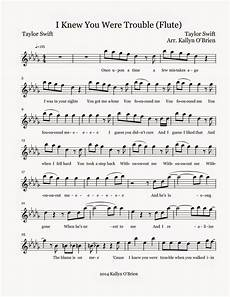 i knew you were trouble sheet music flute sheet music