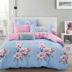 blue purple print pattern 4pcs double bedding queen size with duvet cover bed sheet