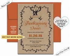 recipe card template deer rustic deer thanksgiving dinner invitation editable