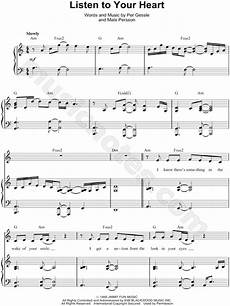 roxette quot listen to your heart quot sheet music in a minor