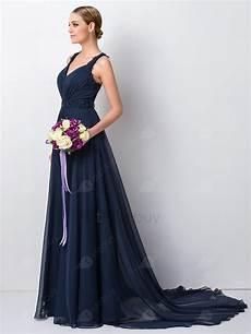Robe Demoiselle D Honneur Charme Perles Florale Bleue