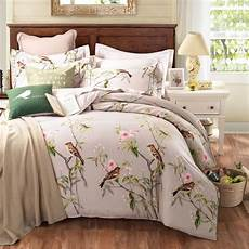 printed bed sheets designs bedding sets queen king size bed linen floral plant birds printed