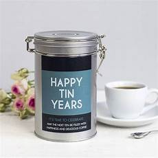 10 Year Wedding Anniversary Tin Gifts personalised anniversary coffee gift tin by novello