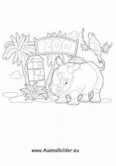 ausmalbilder nashorn im zoo zoo malvorlagen