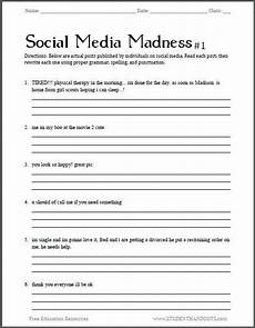 punctuation worksheets college 20731 social media madness grammar worksheet 1 free worksheet for high school students pdf fi