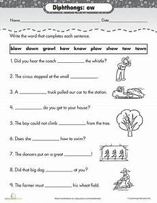 worksheets practice reading vowel diphthongs ow language arts pinterest