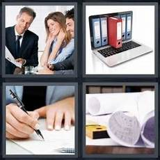 4 Pics 1 Word Answer For Contract Files Sign Blueprints