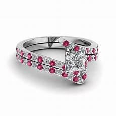 bypass princess cut diamond bridal ring with pink