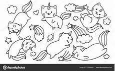 coloring pages 17539 getekend schattig unicorn katten vliegen met sterren wolken voor stockvector