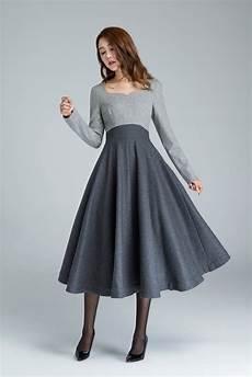 winter wool winter wool dress wool dress grey wool dress midi dress etsy