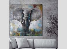 Wall Pop Art Canvas African Elephant HD Print Abstract