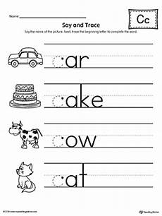free worksheets letter c 24465 say and trace letter c beginning sound words worksheet myteachingstation