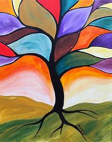 fall stained glass tree easy peasy acrylic painting lesson for beginners this is a simple real