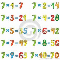 table de 7 multiplication table of 7 stock photo image 25805510