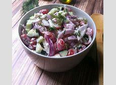 cucumber and tomato salad in garlic yogurt dressing_image