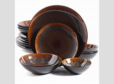 Gibson Elite Kioto 16 Piece Double Bowl Dinnerware Set, Red