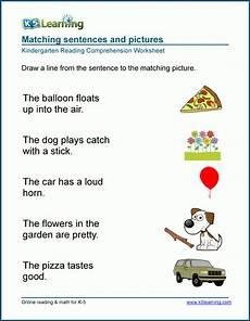 reading sentences worksheets for kindergarten k5 learning