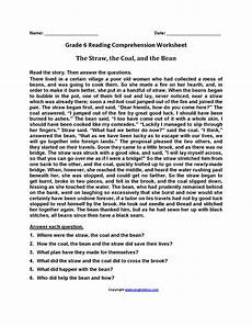 worksheets with hay 18316 the straw coal and bean sixth grade reading worksheets мова англійська мова