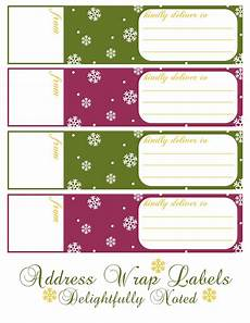 printable holiday wrap around address labels delightfully noted