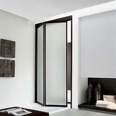 falttür mit rahmen zweiteilige faltt 252 r unika aus milchglas und braunem rahmen