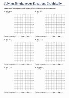 gcsesimultaneous equations graphically worksheet teaching resources