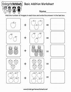 free printable basic addition worksheet for kindergarten
