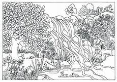 coloring pages of nature for adults 16381 printable waterfall nature coloring page coloring for adults by triciagriffitharts on