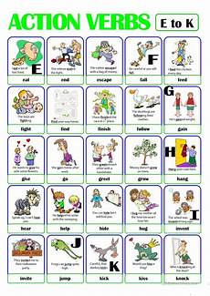 pictionary action verb set 2 from e to k worksheet