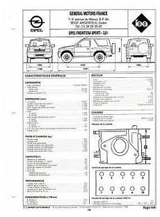 Fiche Technique Automobile Pour Opel Frontera Sport 2 0 I