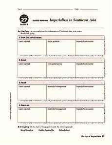 imperialism in southeast asia worksheet for 9th 10th