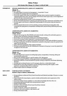 administrative assistant marketing resume sles velvet