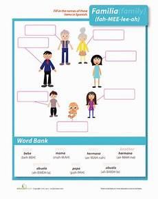 family spanish worksheets family in spanish worksheet education com