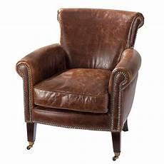fauteuil en cuir fauteuil en cuir marron effet vieilli cambridge maisons