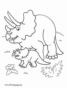 look here is a triceratops dinosaur mother and her cute