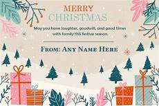 winter merry christmas card with name generator
