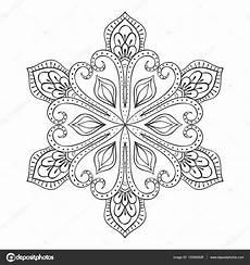 Ausmalbild Schneeflocken Mandala Vektor Schneeflocke Zentangle Stilgerecht Doodle Mandala