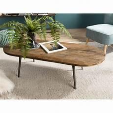 Table Basse Ovale Au Design Industriel En Bois De Teck Et