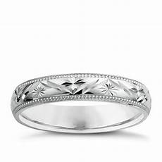 9ct white gold patterned wedding ring h samuel