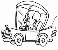 Little Dog Car Driving And Waving His Hand Coloring Pages