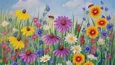 Wildflowers Acrylic Painting Tutorial Live Beginner Step