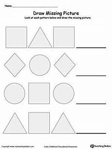 patterns shapes worksheets 241 draw the missing shape to complete the pattern shape worksheets for preschool pattern