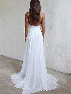 a line spaghetti straps backless lace white beach wedding dresses whi abcprom