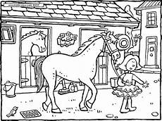 paard in stal kleurplaat bauernhof colouring pages