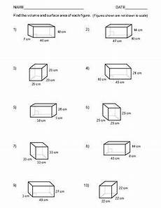 volume and surface area of rectangular prisms two worksheets 1 10 area worksheets volume